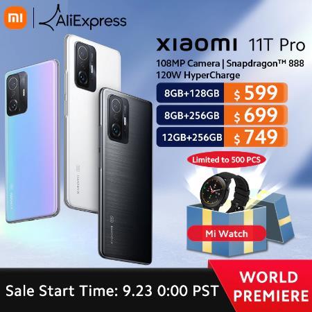 Глобальная версия смартфона Xiaomi 11T Pro, 128 ГБ, Восьмиядерный процессор Snapdragon 256, 888 Вт, камера 120 МП, 120 Гц